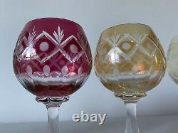 Vintage BOHEMIAN Multi Coloured Cut To Clear CRYSTAL WINE GLASSES Set Of 6