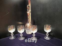 Vintage Bohemia Glam Gold Inlaid Clear Crystal Decanter and Four Wine Goblet Set