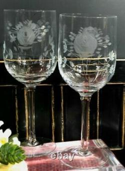 Vintage Clear Crystal Wine / Water glasses with Etched Roses and Leaves Set 10