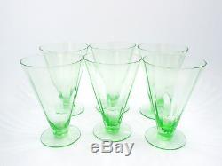 Vintage Depression Era Green Crystal Glassware, 8 Wine & 6 Iced Tea Glasses