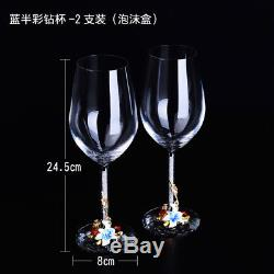 Vintage Enamel Crystal Cups Gin Red Wine Glass Decanter Set Goblet Stemmed Gifts