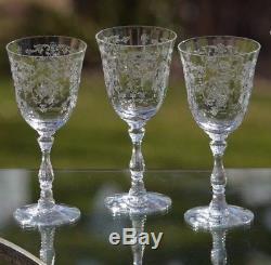 Vintage Etched Crystal Claret Wine Glasses, Fostoria Navarre Large Claret