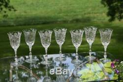 Vintage Etched Crystal Wine Glasses- Water Goblets, Cambridge, Rose Point