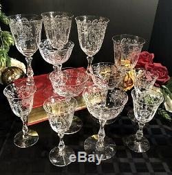 Vintage Fostoria Meadow Rose Crystal Glasses Water, Champagne, Wine 12 Pieces