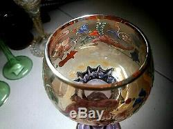 Vintage Moser Crystal-gilt/enamel In Amber&alexandrite-7 7/8 Roemer Wine Goblet