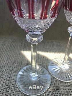 Vintage Pair (2) Saint Louis Crystal France Cut to Clear Tommy Ruby Wine Glass