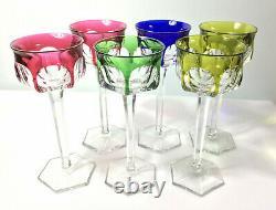 Vintage Set 6 Cut Crystal Harlequin Hock Wine Glasses Moser Bohemian Czech Bar