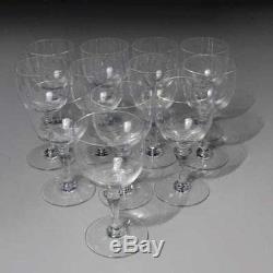 Vintage Set Of 12 Baccarat Crystal Normandie Claret Wine Glasses