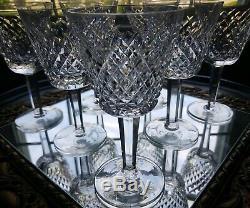Vintage Set of 7 Waterford Alana 5 7/8 Wine Glasses Goblets Mint SIGNED