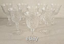 Vintage Set of 8 Galway Irish Clear Cut Glass Crystal Wine Glass Goblets Ireland