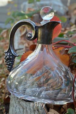 Vintage Sterling Silver & Cut Glass Crystal Grape Motif German Wine Decanter