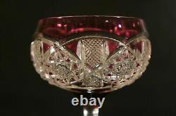 Vintage VAL ST LAMBERT French Cut to Clear Crystal Wine Goblet Saarbrucken