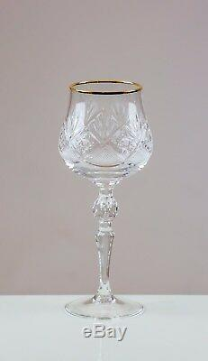 Volarna 6 Gold Rimmed Red Wine Glasses 24% CUT LEAD CRYSTAL 100% HANDMADE 30cl