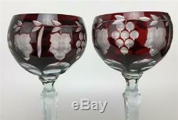 Vtg Set 8 RARE AJKA MERTISE RUBY Cut to Clear Bohemian Crystal Wine Hock Goblets