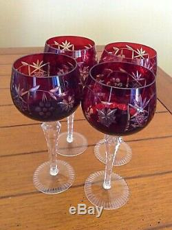 Vtg Set of 4 Bohemian Czech Cut-to-Clear Crystal Wine Goblet Cranberry Red 8