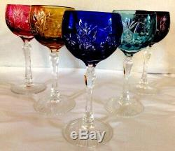 Vtg, Set of 5, Bohemian Harlequin 8WINE HOCKS, Cased Crystal, Cut to Clear