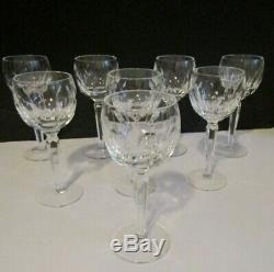 Vtg Waterford KATHLEEN Crystal Wine Hock Glasses w Cut Oval Thumbprints Set of 8
