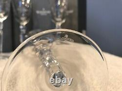 WATERFORD CRYSTAL Four Charlemont Water / Wine Goblets with Etching & Gold Trim