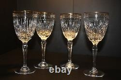 WATERFORD CRYSTAL MARQUIS Hanover Gold Wine Stems Lot of 4