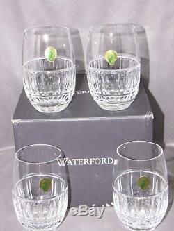 WATERFORD CRYSTAL, set 4 STEMLESS WINE GLASSES, BOLTON PATTERN NEW! ORIGINAL BOX