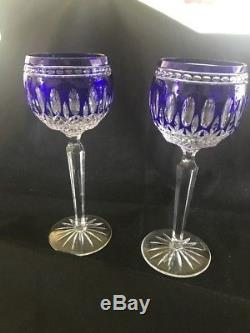 WATERFORD Crystal CLARENDON COBALT Blue Wine Hocks Set / 2