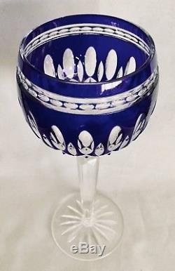 WATERFORD Crystal CLARENDON COBALT Blue Wine Hocks Set / 2 RETIRED In BOX