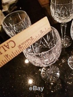 WATERFORD Crystal Ireland LISMORE Pattern 6- WINE HOCK GLASSES Goblets 7 3/8