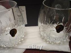 WATERFORD Lismore Nouveau stemless light red wine set/2 NIB! Gorgeous