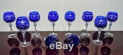 WOW 10-Piece Cut-To-Clear Crystal Bohemian Cobalt Blue Wine Goblet Glasses