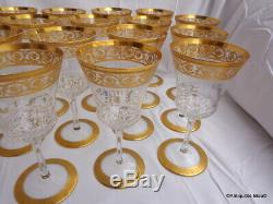 Water glasses in crystal Saint Louis Thistle Gold model PERFECT 7 inch