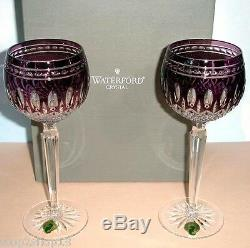 Waterford Clarendon Amethyst Hock SET/2 Wine Glasses #149756 New