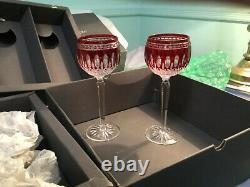 Waterford Clarendon Ruby Hock Wine Glasses8 New in Original Boxes