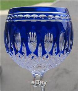 Waterford Cobalt Blue Cut To Clear Cased Crystal CLARENDON Wine Hock Goblet