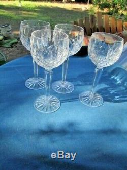 Waterford Crystal 4 Wine Hock Goblets Glasses Balloon Shape 7 1/2h 2 3/4d