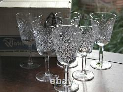 Waterford Crystal Alana White Wine Glasses Set of 6 Vintage Mint Boxed Ireland