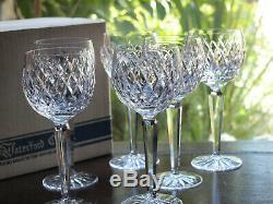Waterford Crystal Boyne Hock Wine Glasses Set Of 6 Vintage in Box
