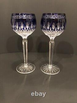Waterford Crystal CLARENDON COBALT BLUE Set of 2 Hock WINE GLASSES Excellent