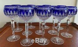 Waterford Crystal CLARENDON COBALT BLUE Set of 6 Hock WINE GLASSES Crisp