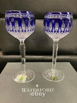 Waterford Crystal Clarendon Colbalt Blue Wine Hock Glasses Set of 2