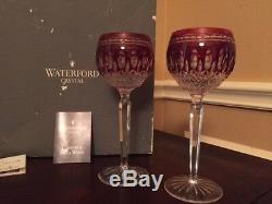 Waterford Crystal Clarendon Ruby Hock Wine Goblets Vintage