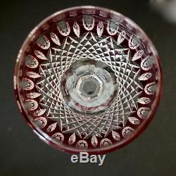 Waterford Crystal Clarendon Ruby Wine Hocks Pair of 2 Red Cut To Clear 8 T