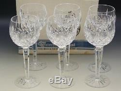 Waterford Crystal Ireland Older Lismore Set Of 6 Wine Hock Goblets In Box