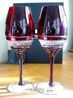 Waterford Crystal John Rocha Ruby Red VOYA White Wine Glasses Set/2 NEW / BOX
