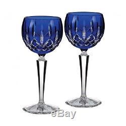 Waterford Crystal LISMORE PRESTIGE COBALT Blue Wine Hocks SET / 2 NEW / BOX