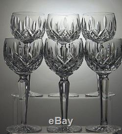 Waterford Crystal Lismore Cut Wine Hock Glasses Set Of 6 7 1/2 Tall 8 Oz