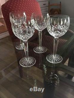 Waterford Crystal Lismore Set of 4 Wine Hock Goblets 7 1/2