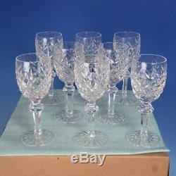 Waterford Crystal Powerscourt Pattern 8 White Wine Goblets Glasses 6 3/8