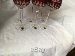 Waterford Crystal Ruby Red Cut To Clear Clarendon Wine Hocks Goblets Set Of 6
