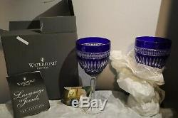 Waterford Crystal Sapphire Serenity Goblet Blue Wine Glass Classy Set Of 2