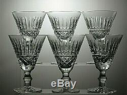 Waterford Crystal Tramore Cut Wine Glasses Set Of 6 5 Tall- Signed
